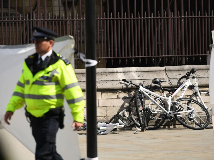 Bicycles on the pavement near the scene of the incident