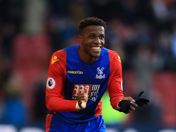 Crystal Palace forward Wilfried Zaha reacting to the comedy dive