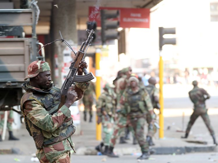 Soldiers opened fire to disperse protesters in Zimbabwe