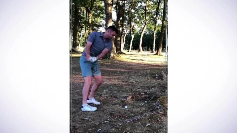 England cricketer Jimmy Anderson escapes injury on the golf course