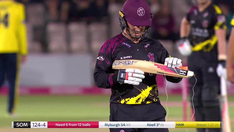 Myburgh gave it some handle - and suffered this batting mishap!