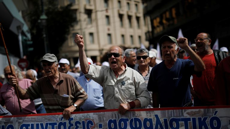 A protest in Athens in May against planned pension reforms