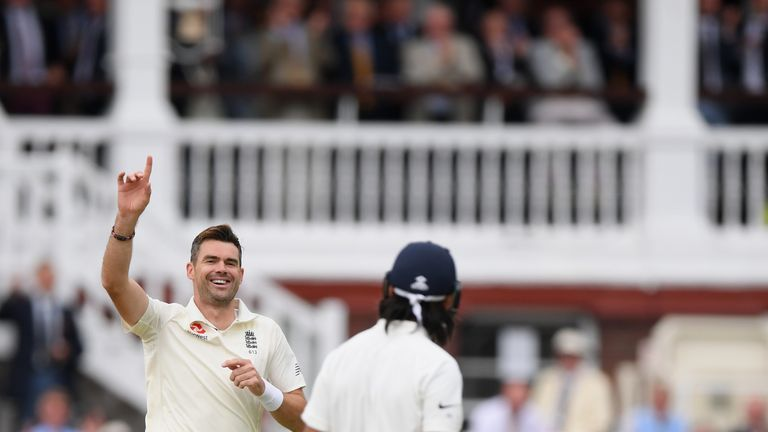 Jimmy Anderson strikes with the new ball at Lord's