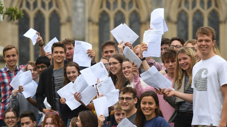 Pupils celebrate their results at Norwich School