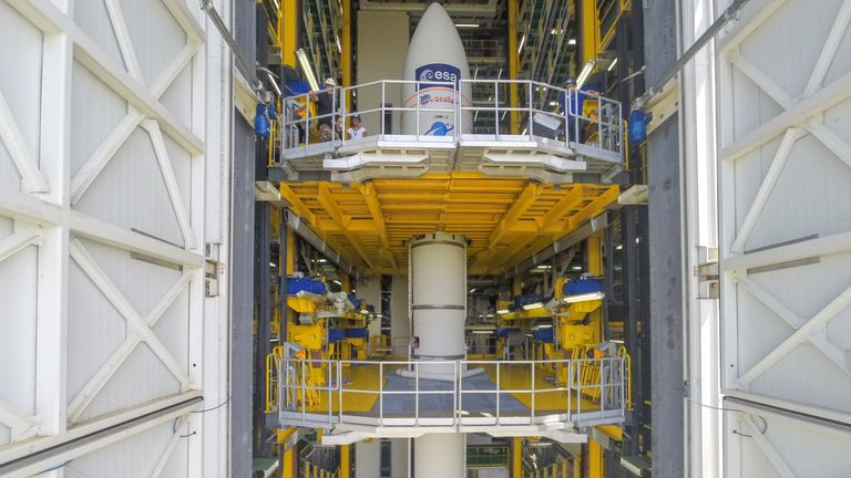 Aeolus in the launch tower ahead of its 21 August liftoff from Europe's Spaceport in Kourou, French Guiana. This extraordinary satellite has been at the launch site since early July where it has been tested and prepared for launch. It will be taken into orbit on a Vega rocket.