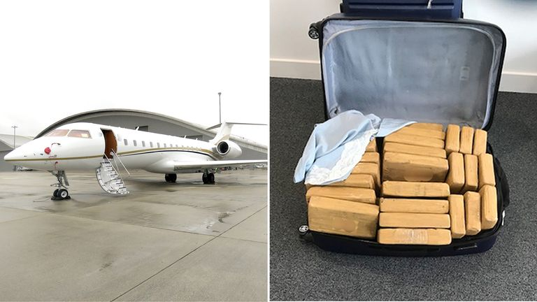 A haul of cocaine worth more than £41 million was flown into Farnborough airport on a private jet from Colombia