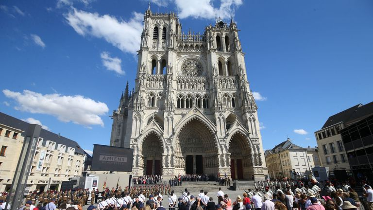 Crowds outside Amiens Cathedral after the service to mark the centenary of the battle