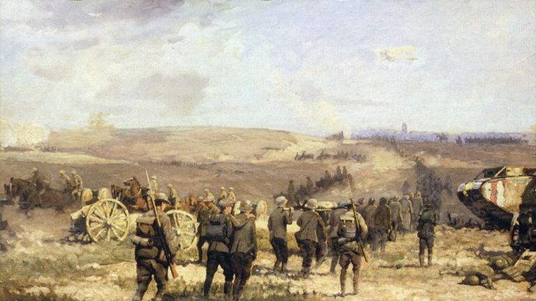 German prisoners of war are led away from the battle of Amiens. Pic: Wikicommons