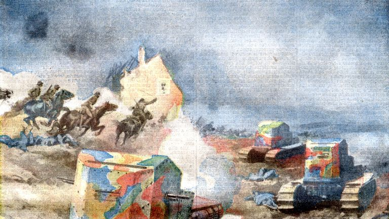 A newspaper illustration of the time depicting the Battle of Amiens