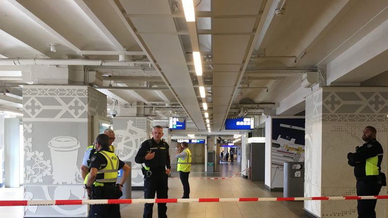 A cordon is up inside the busy station in central Amsterdam
