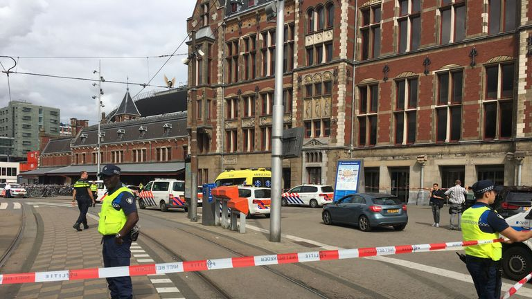 A suspect has been shot and injured outside Centraal Station in Amsterdam