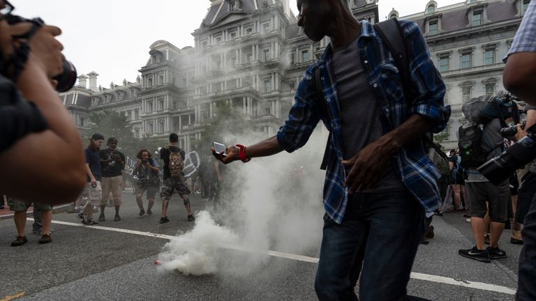 "Smoke grenade placed by Antifa-activists during the ""Unite the Right 2"" rally in Washington"