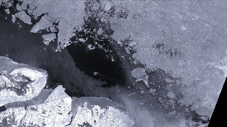 This satellite image from Seaice.dk shows the breakdown of ice in the Arctic