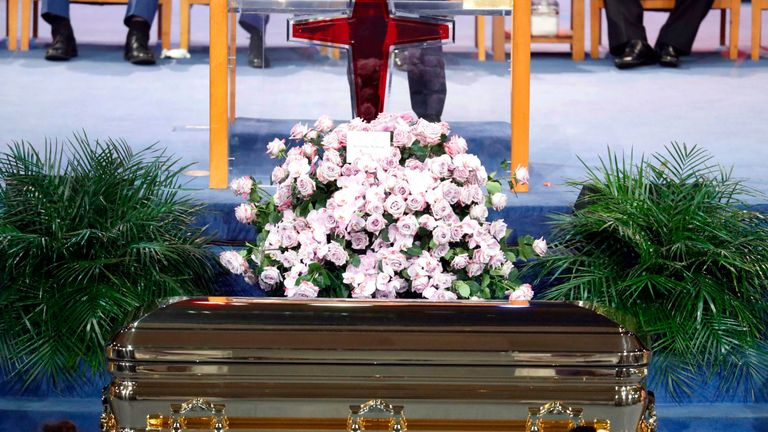 Flowers sit atop the casket at the funeral service for Aretha Franklin