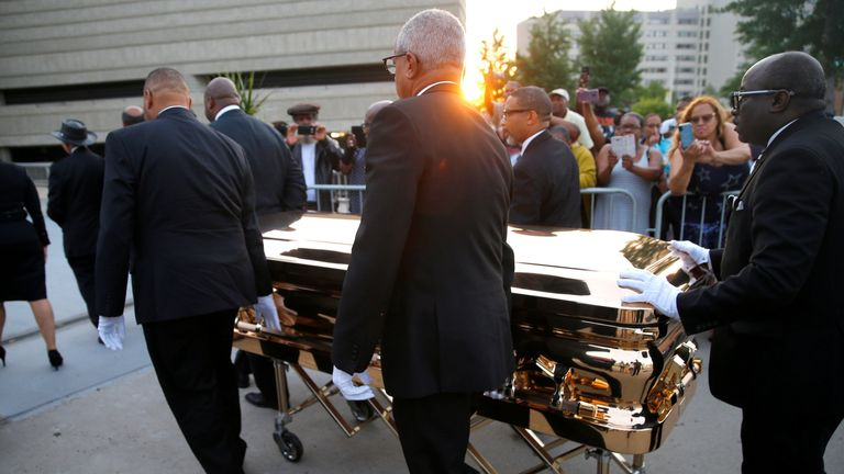 The casket carrying the late singer Aretha Franklin arrives at the Charles H. Wright Museum of African American History