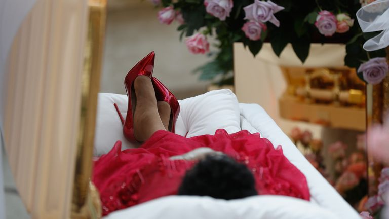 The body of Aretha Franklin lies in repose at the Charles H. Wright Museum of African-American History