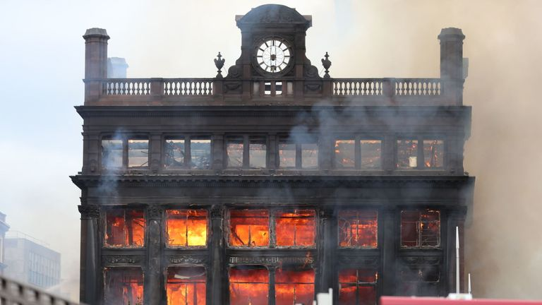 The fire has gutted the historic Belfast building which housed Primark
