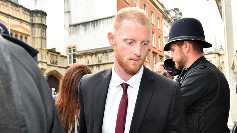 England cricketer Ben Stokes arrives at Bristol Crown Court accused of affray