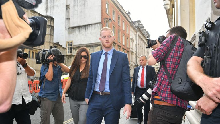 England cricketer Ben Stokes, with his wife Clare, arrives at Bristol Crown Court accused of affray