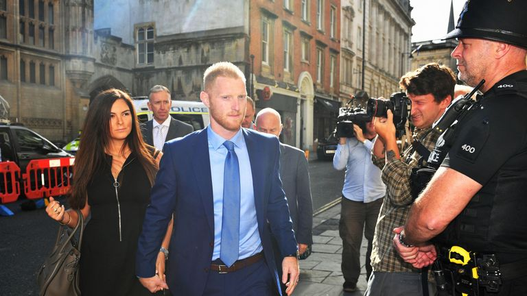 Ben Stokes arriving at Bristol Crown Court this morning