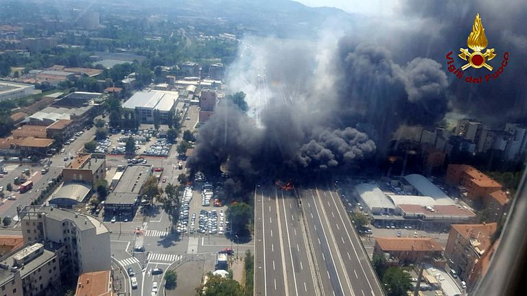 The explosion engulfed the motorway near Bologna's airport
