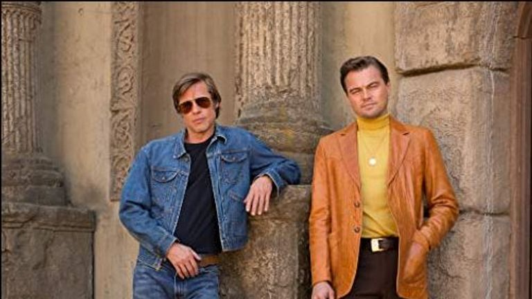 Brad Pitt and Leonardo DiCaprio play a TV actor and his stunt double in the film