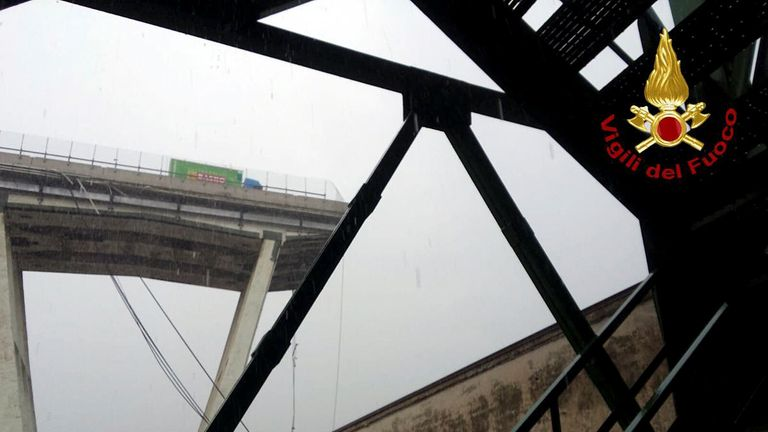 The motorway bridge which collapsed in Genoa