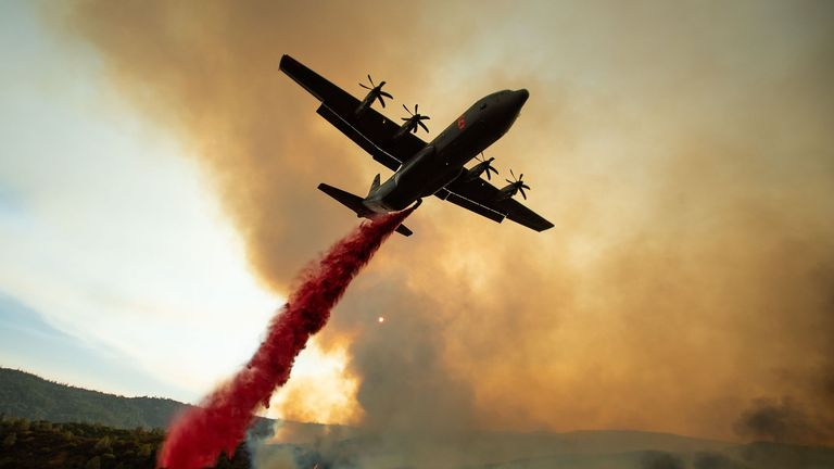 An air tanker drops retardant on the Ranch Fire, part of the Mendocino Complex Fire