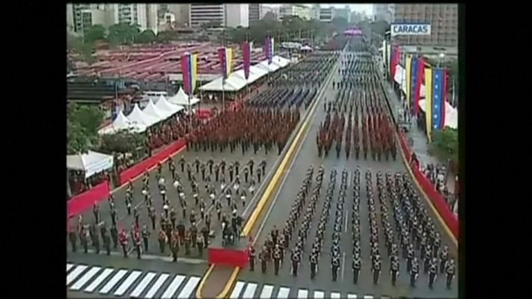 Hundreds of soldiers lined up to listen to Nicolas Maduro's speech on the economy
