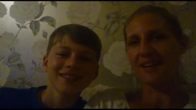 Oliver Davies, 12, with his mum Hayley