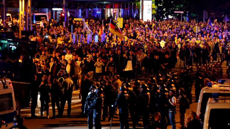 The far-right street movement PEGIDA called for a second day of protests in Chemnitz