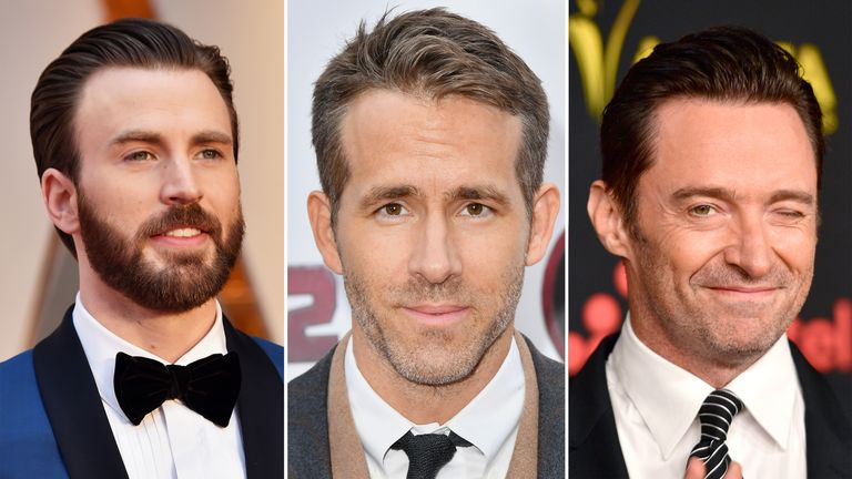 L/R: Chris Evans, Ryan Reynolds and Hugh Jackman are among the stars to have sent messages to the teenager