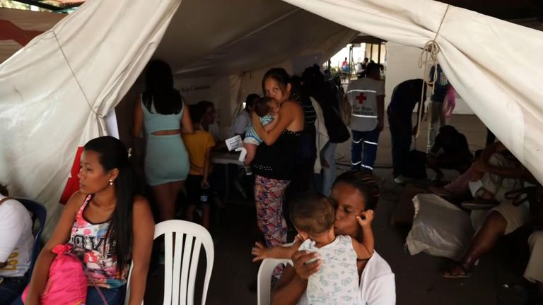 Some Venezuelans, mainly with children, head straight to the medical tent when they reach Colombia