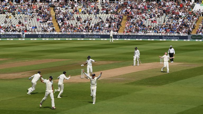 Alastair Cook (second left) catches Hardik Pandya during the first Test match against India in August