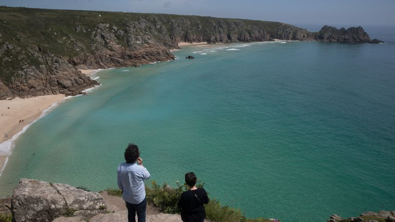 The beach at Porthgwarra, one of the locations in Poldark
