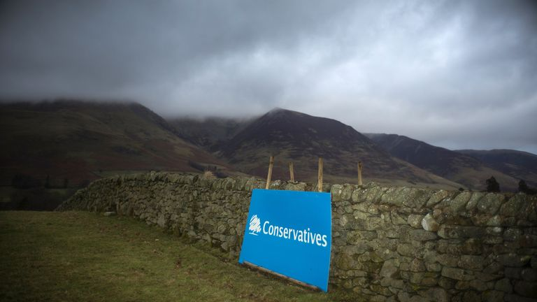 KESWICK, ENGLAND - FEBRUARY 16:  A campaign poster for the Conservative party sits next to a dry stone wall in rural  Cumbria ahead of the Copeland by-election on February 16, 2017 in Keswick, England. The Copeland by-election was triggered by the resignation of Labour MP Jamie Reed last December to take a post at the nearby Sellafield nuclear power plant. The seat has been a Labour stronghold for decades but will see fierce competition from the conservaties and UKIP.  (Photo by Christopher Furlong/Getty Images)