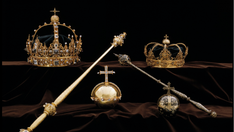 Crown jewels belonging to Sweden's King Karl IX and Queen Kristina, stolen from the Cathedral of Strangnas