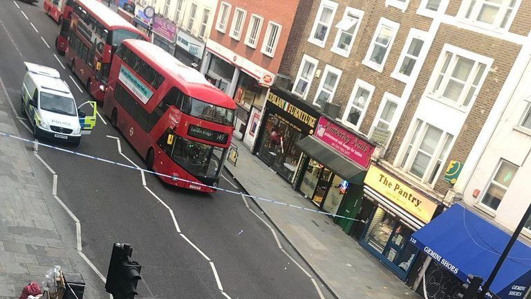 The woman was hit on Kingsland High Street in east London on Tuesday evening