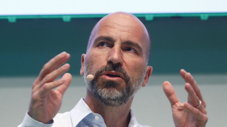 BERLIN, GERMANY - JUNE 06: Dara Khosrowshahi, CEO of Uber, speaks at the 2018 NOAH conference on June 6, 2018 in Berlin, Germany. The annual conference brings together established start-ups leaders, entrepreneurs, investors and media. (Photo by Michele Tantussi/Getty Images)