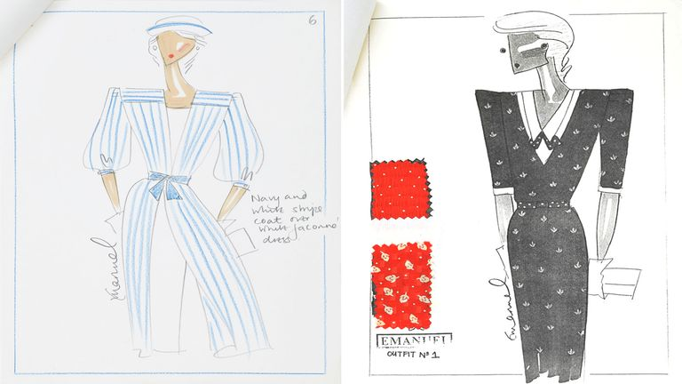 Clothing designs for Diana, Princess of Wales. Pic: RR Auction
