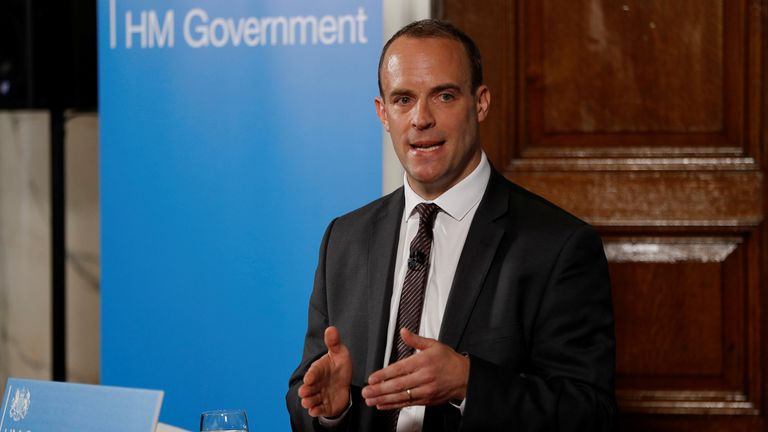 Brexit Secretary Dominic Raab gestures during his speech outlining the government's plans for a no-deal Brexit in London, Britain. Aug 23, 2018. REUTERS/Peter Nicholls
