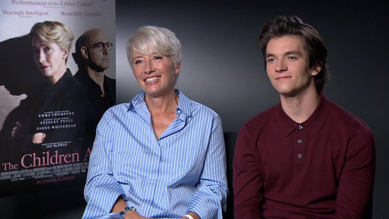 Emma Thompson and Fionn Whitehead, who plays a young Jehovah's Witness