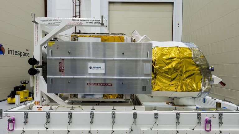 TOULOUSE, FRANCE - JUNE 4: In this handout photo provided by the European Space Agency (ESA), ESA's Aeolus satellite is packed up at Airbus in Toulouse, France on June 4, 2018. The satellite is packed and ready to be shipped to French Guiana for liftoff in August, and will study weather on earth. (Photo by M. Pedoussaut/ESA via Getty Images)