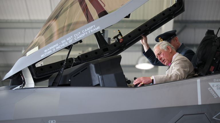 Britain's Prince Charles sits in an F-35 during a visit to 617 Squadron, the UK's first F-35 Lightning Squadron based at RAF Marham, Kings Lynn, in Norfolk, July 27, 2018. REUTERS/Chris Radburn