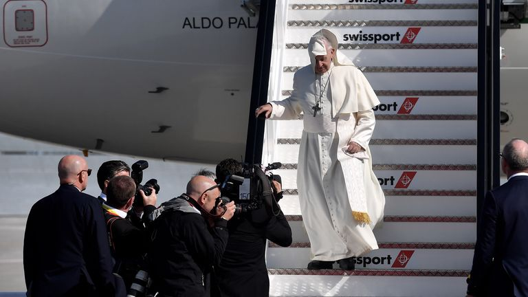 at Dublin Airport on August 25, 2018 in Dublin, Ireland. Pope Francis is the 266th Catholic Pope and current sovereign of the Vatican. His visit, the first by a Pope since John Paul II's in 1979, is expected to attract hundreds of thousands of Catholics to a series of events in Dublin and Knock. During his visit he will have private meetings with victims of sexual abuse by Catholic clergy.