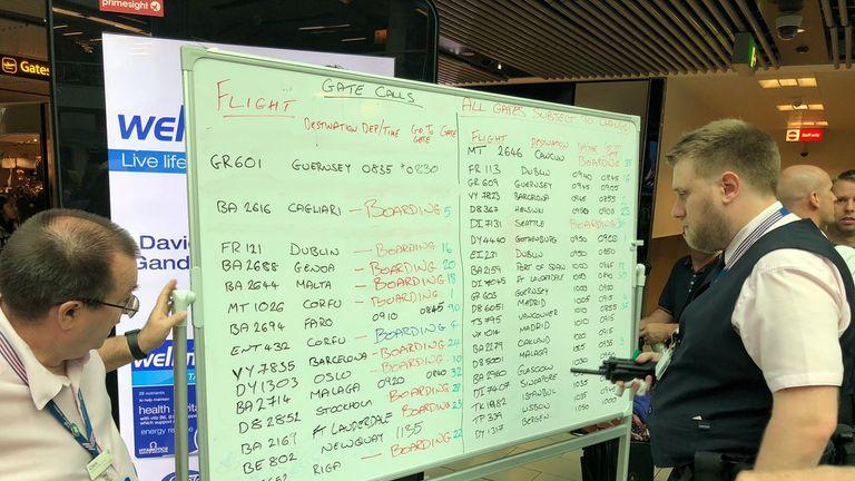 Staf have been using marker pens to update passengers. Credit: Edmund von der Burg