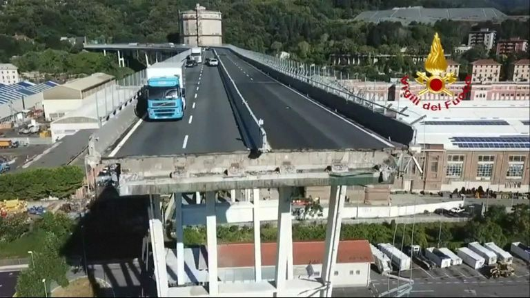 Rescue and recovery operations were underway in Genoa  after at least 39 people died when a motorway bridge collapsed