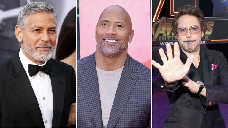 George Clooney, Dwayne Johnson and Robert Downey Jr