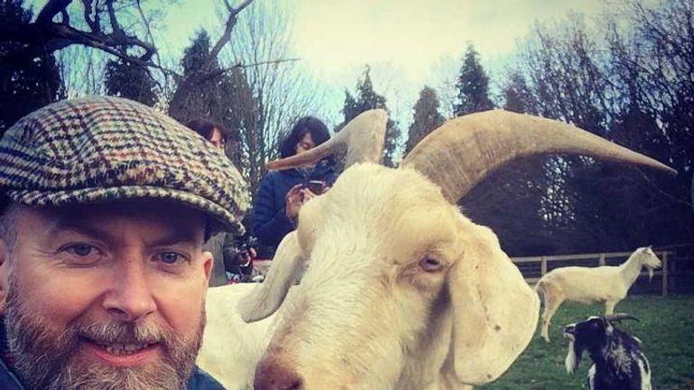 Dr Alan McElligott with goat - Credit Alan McElligott