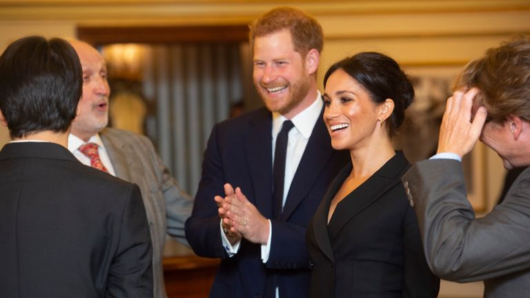 The Duke and Duchess of Sussex meet the cast and creators of Hamilton